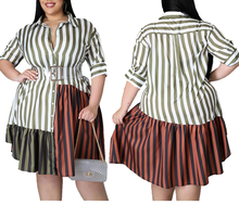 AYES Plus Size Clothing for Women Shirts Dress Summer 2021 Patchwork Striped Office Lady Midi Dresses Brown Vestidos L-5XL Robe