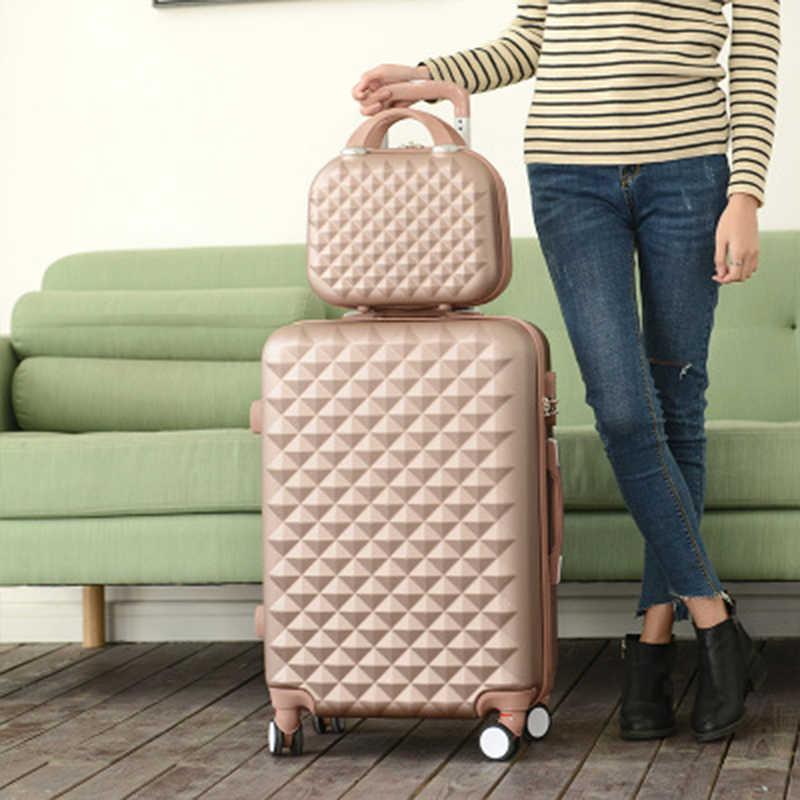 Xadrez dos desenhos animados moda feminino bonito 20/22/24/26/28 polegada rolando bagagem spinner marca mala rodas carry on sacos de viagem
