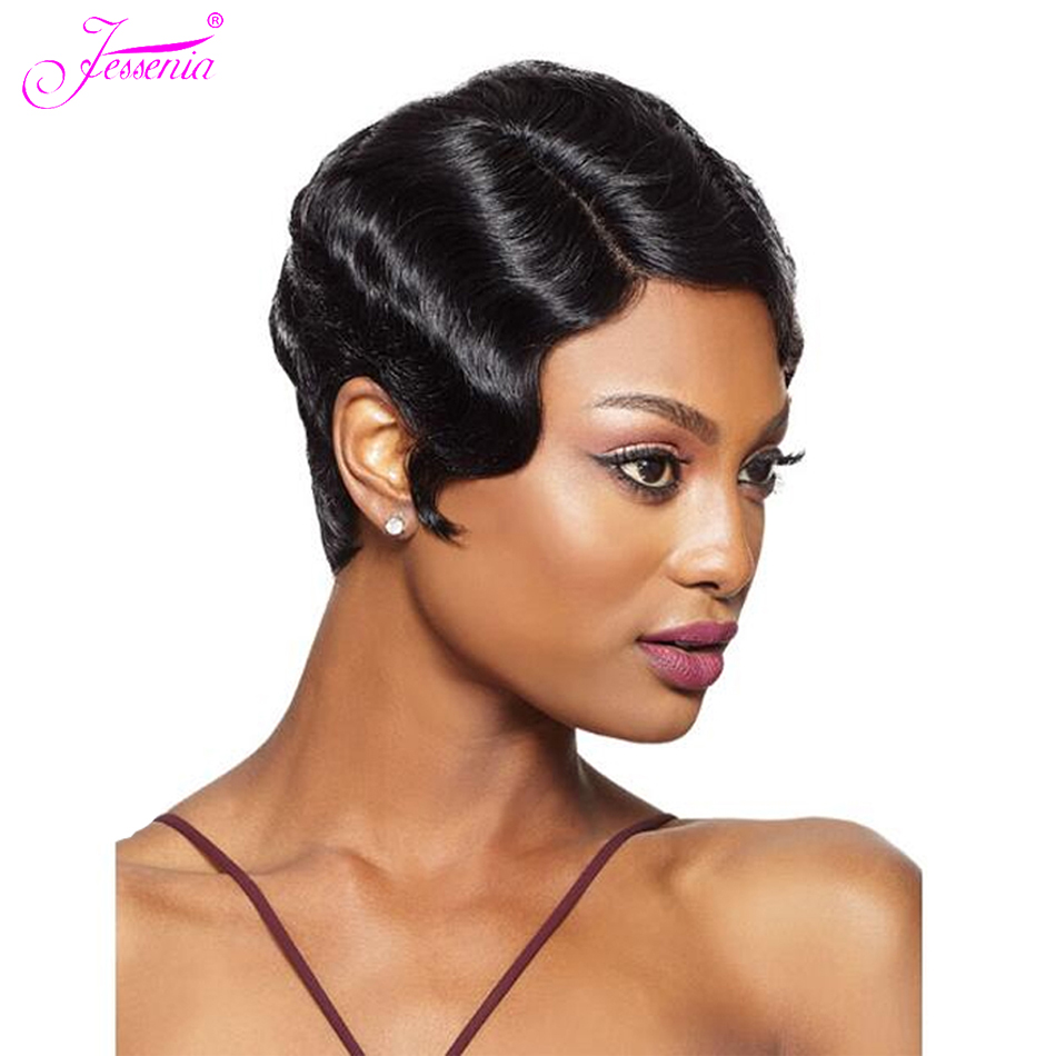 Jessenia Short Wavy Human Hair Wig Brazilian Hair Full Machine Wig Remy Hair Mommy Wig For Fashion Women
