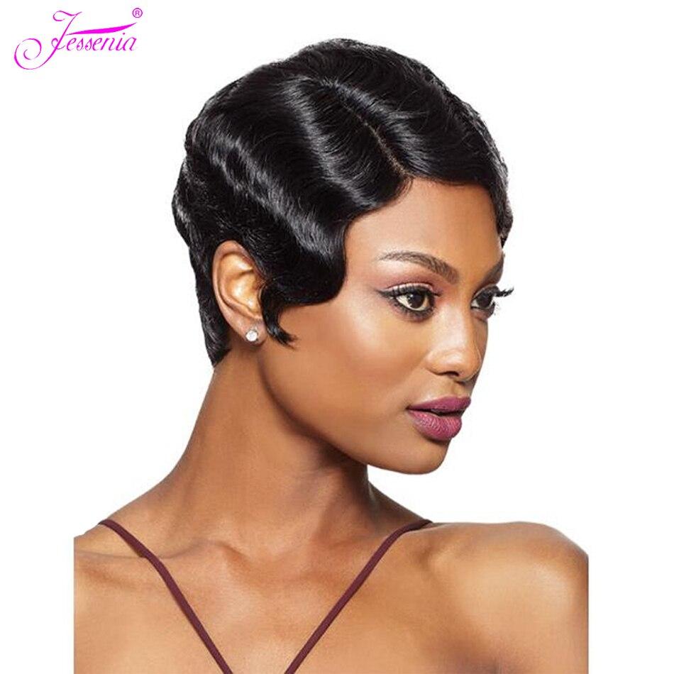 Jessenia Short Wavy Human Hair Wig Brazilian Hair Full Machine Wig Remy Hair Mommy Wig For Fashion Women