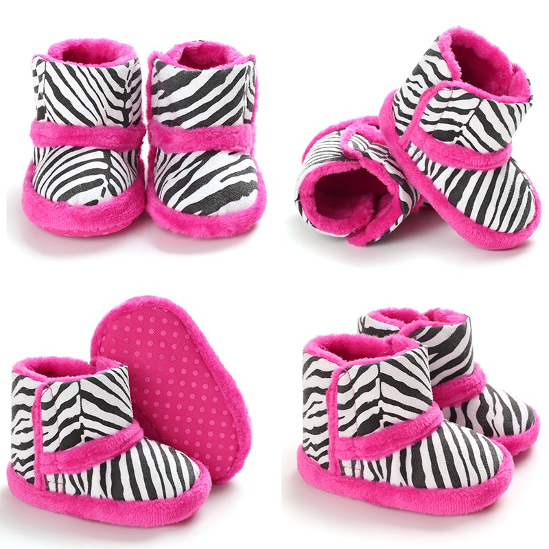 Winter Baby Boots Warm Children Boy Girl Snow Boots Casual Zebra Pattern Print Thicken Velvet Baby Shoes Walking Shoe