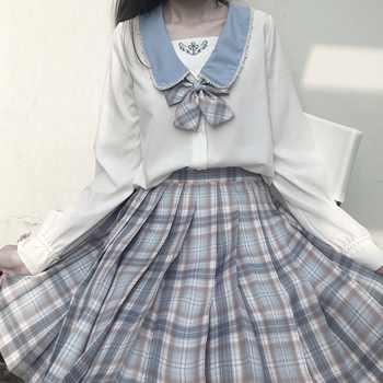 Japanese School Uniforms Sailor Collar Shirts JK Uniform Tops White Embroidery Long Sleeve Blouses Polo Shirt Clothes for Women