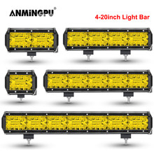 ANMINGPU 4-20 pollici Off Road LED Bar 12V 24V di Colore Giallo HA CONDOTTO LA Luce Bar per Auto Jeep camion Suv 4x4 Trattore Barca Atv Spot Luce del Lavoro del LED