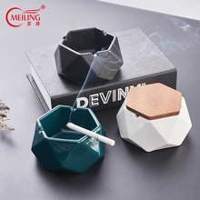 Nordic Creative Cigar Ashtray Irregular For Home Bar Table Office Ceramic Smoke With Lid Unique Gift Boss Father Dad