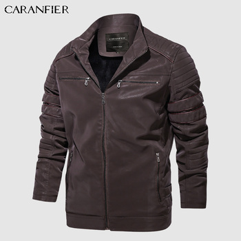CARANFIER Fashion Winter Leather Jacket Men Stand   3