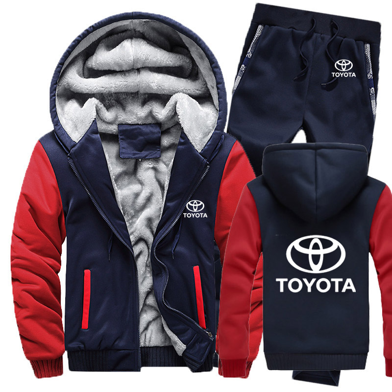 Hoodies Men Toyota Car Logo Mens Hoodies Suit Winter Thicken Warm Fleece Cotton Zipper Tracksuit Mens Jacket+Pants 2Pcs S