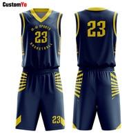 Popular Basketball Uniforms Design College Club Contest Dark Blue Basketball Jerseys