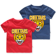 Baby Boy Cartoon Animal Design Casual Round Neck T-shirt Kids Cartoon Short Sleeve Tops T-shirt Tees Children Cotton Clothes цена и фото