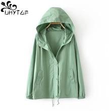 Jacket UHYTGF Short 32 Coat Outerwear Jaqueta Hooded Oversized Zipper Temperament Loose
