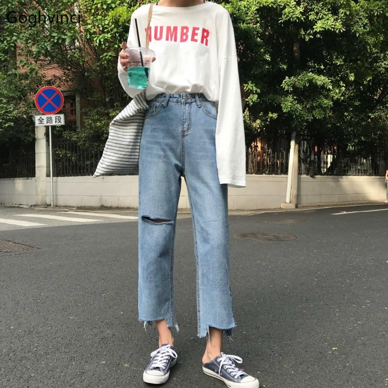 Jeans Women New Straight Ankle-length Hole Denim Womens Trendy High Quality Simple Korean Style Trousers Female Elegant Girls