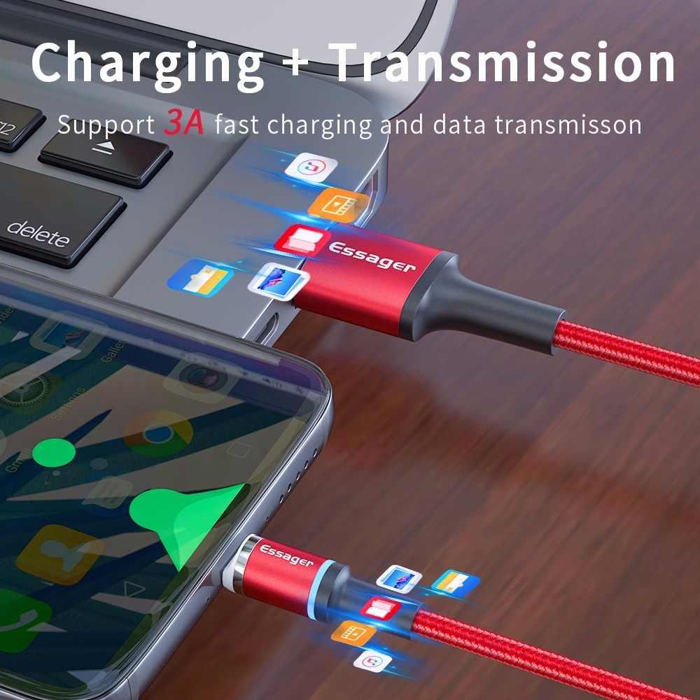 Essager LED Magnetik Mi Cro Kabel Usb Cepat Pengisian Tipe C Kabel Magnet Kabel Charger untuk iPhone 11 XR X xiao Mi Mi 9 Merah Mi Note 7