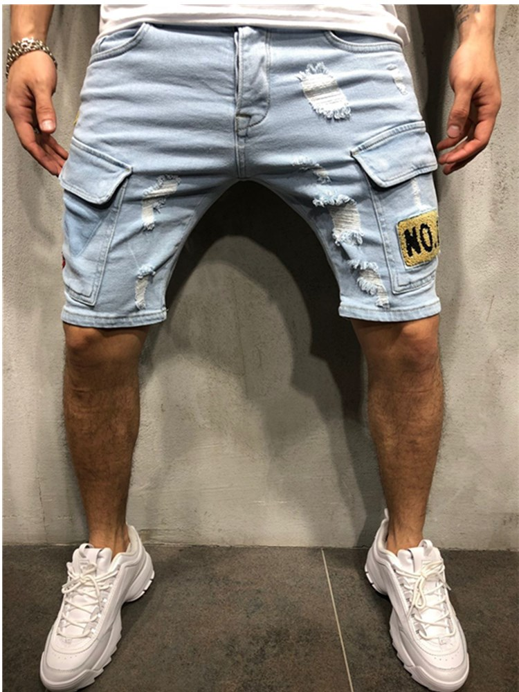 NEW Summer Denim Shorts Embroidered Men's Jeans Shorts Hip-hop Slim Shorts Blue Light Blue Multi-pocket Overalls S-3XL