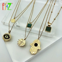 F.J4Z Women Collar Necklaces Fashion Turkey Jewelry Gifts Eye Leaf Coin Hand Pendants Beaded Chain Colliers Dropship