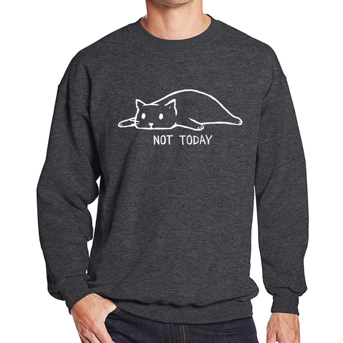NOT TODAY Printed Sweatshirts Men 2019 Autumn Winter Fleece Warm Pullover Male Lazy Cat Funny Men's Sweatshirts Hoodie Hipster Pakistan