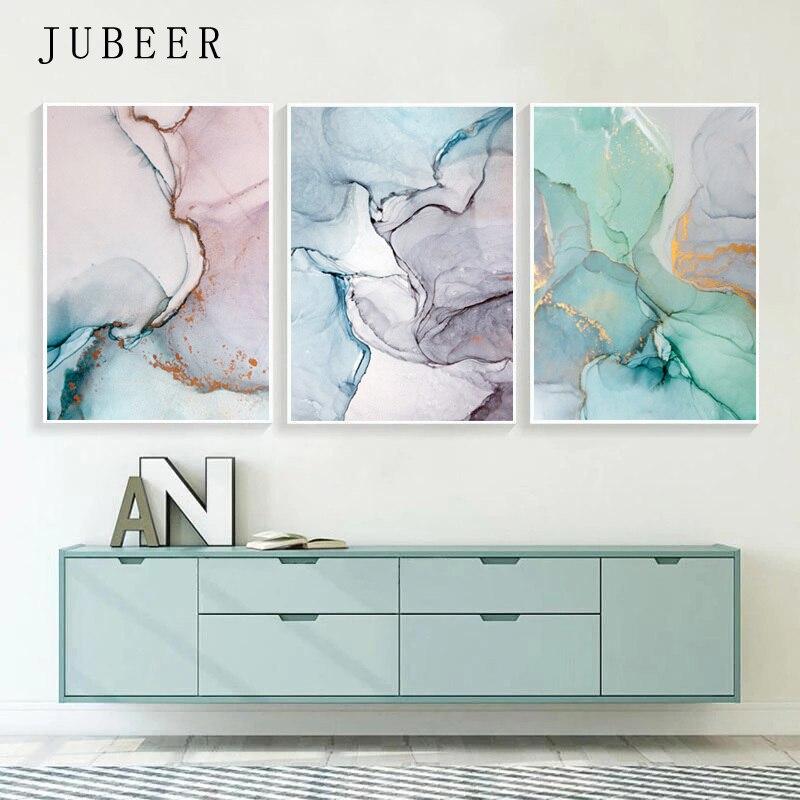 Pintura en lienzo de colores abstractos cartel de arte de pared nórdico Cuadros decorativos decoración geométrica para el hogar sin marco