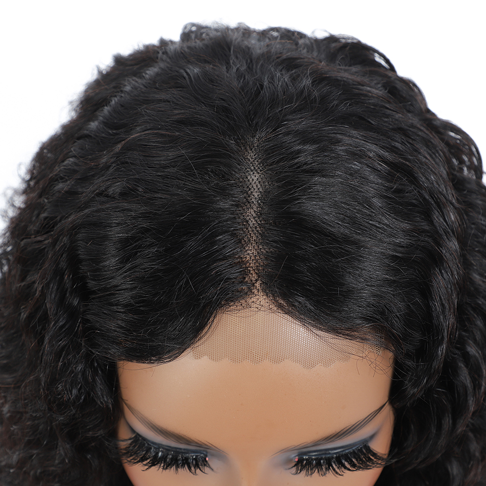 Deep curly Short Bob 4x4 Lace Front  Wigs PrePlucked  Kinky Deep Water Wave Frontal Virgin Wig 4