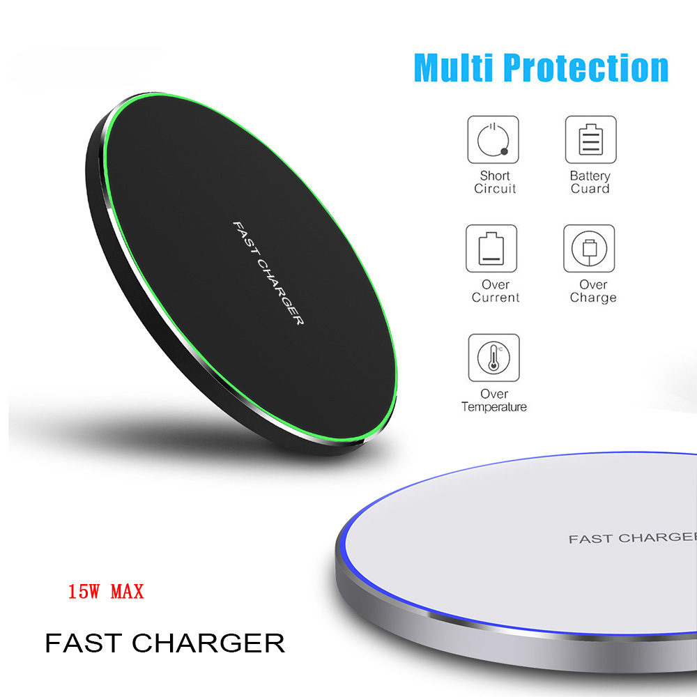 15W Qi Wireless Charger For IPhone X XS XR 8 Plus Huawei P30 P20 Pro Fast Wireless Charging Pad For Samsung S8 S9 S10 Xiaomi Mi