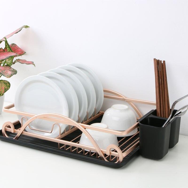 Сушилка для посуды из нержавеющей стали с поддоном для капель, Золотая проволока, столовые приборы, подставка для посуды, держатель, полка, х...