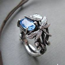 2019 Fashion Silver Black Lotus Leaf Dragonfly Copper Rings for Women Vintage Blue Crystal Wedding Party Jewelry Size 6 -10