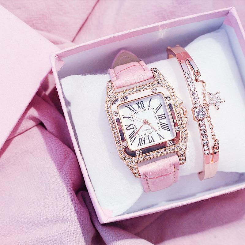 Reloj Mujer Women Diamond Watch Starry Square Dial Bracelet Watches Set Ladies Leather Band Quartz Wristwatches Female Clock
