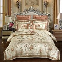 Gold color Europe Luxury Royal Bedding sets Queen King size Satin Jacquard Duvet cover Bed cover sheets set pillowcase J/6/9Pcs