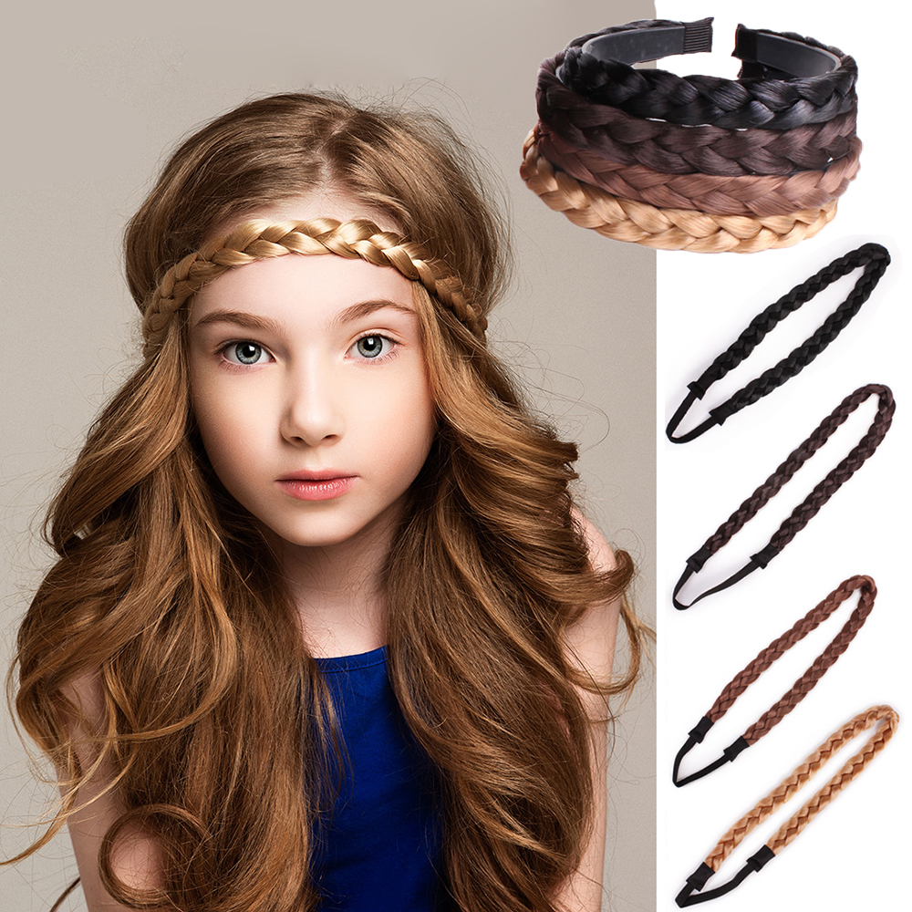 Fashion Synthetic Twisted Wig Braided Hair Band Elastic Braid Headband Cat Ears Hair Hoop Lace Pop Princess Party Decoration