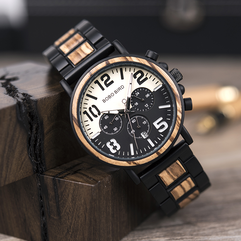 BOBO BIRD Top Brand Relogio Masculino Men Watch Wood Stainless Steel Case Chronograph Wristwatch Male Timepiece Custom Gift OEM