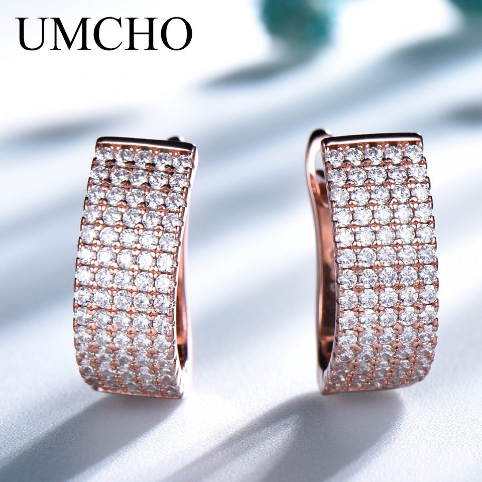 UMCHO Luxury Rose Gold Color Earrings 925 Sterling Silver Clip Earrings For Women Anniversary Wedding Party Gift Fine Jewelry