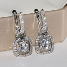 Utimtree Luxury Round Cubic Zircon Earrings for Women Bride 925 Sterling Silver Sparking Crystals Drop Wedding