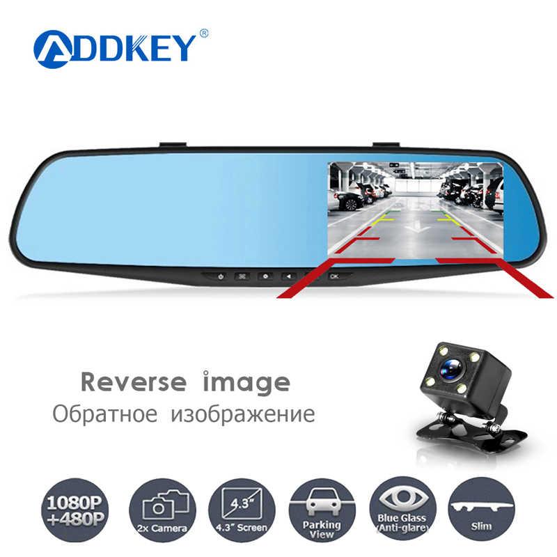 Addkey Full HD 1080P DVR Xe Ô Tô Camera Tự Động 4.3 Inch Gương Chiếu Hậu Dash Kỹ Thuật Số Ống Kính Kép Registratory máy Quay Phim