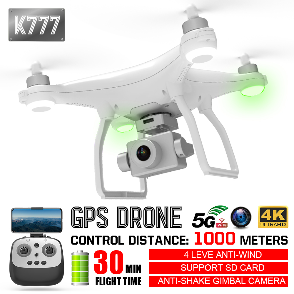 K777 Drone 4K GPS WiFi HD Camera Gimbal 1KM Profissional RC Quadcopter Brushless Motor Drones 30-minute Flight VS X35 L109