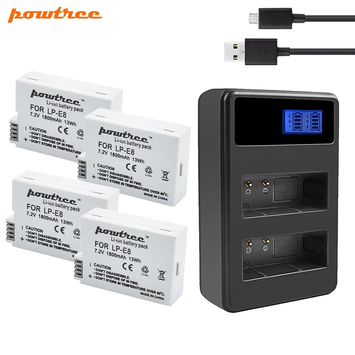 Powtree 1800mah LP-E8 LPE8 LP E8 Battery AKKU+USB Dual Charger For Canon EOS 550D 600D 650D 700D X4 X5 X6i X7i T2i T3i
