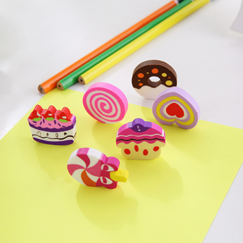 18packs/lot Cute Cake Donut Shaped Erasers For Kids Rubber Eraser Toys Kawaii Stationery School Office Supplies