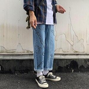 Image 2 - 2019 Amantes Dos Desenhos Animados Impressão Folgado Homme Casuais dos homens Calças Estilo Clássico de Bolso de Carga Calças Jeans Mens Denim Motociclista S 2XL