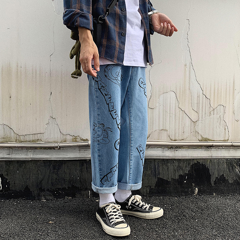 Image 2 - 2019 Mens Lovers Cartoon Printing Baggy Homme Casual Pants 
