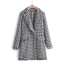 vintage women blazer stylish houndstooth plaid tweed notched collar tassel long