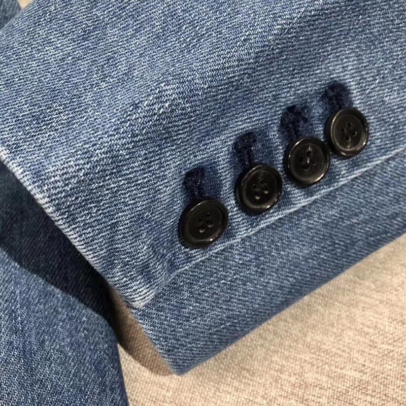 Solido Giubbotti jeans Cappotto Manica Lunga da Donna Vintage Giacca di Jeans Autunno Del Cappotto Del denim Jean - 5