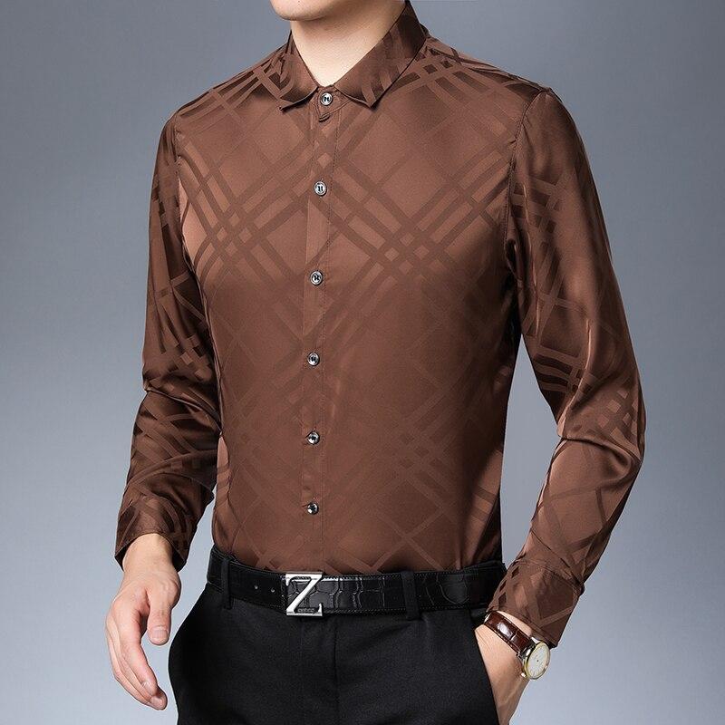 2019 nowych jesień i wiosna męskie miękkie jedwabna koszula  5mlQT