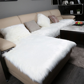 Luxury Long Plush Sectional Sofa Cover White Fluffy Faux Fur Seat Cover for Couch/Tatami/Futon Fuzzy Cover Sofa Slipcover Mat