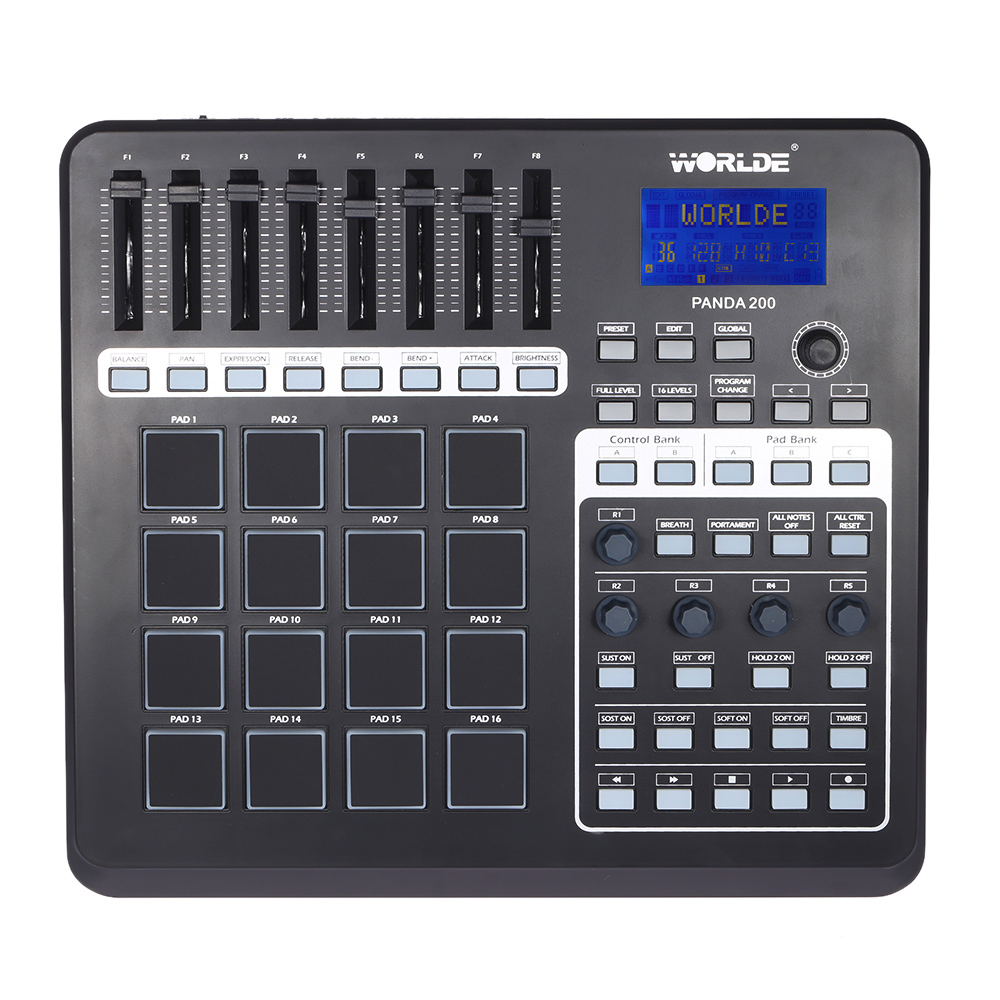 WORLDE PANDA200 Portable USB MIDI Pad Controller 16 Drum Pads With USB Cable Keyboard Midi