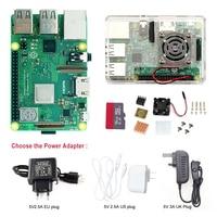 Raspberry Pi 3 Model B + kits sales with ABS Cases fan , heat sink ,SD , EU plug / US plug / UK Plug