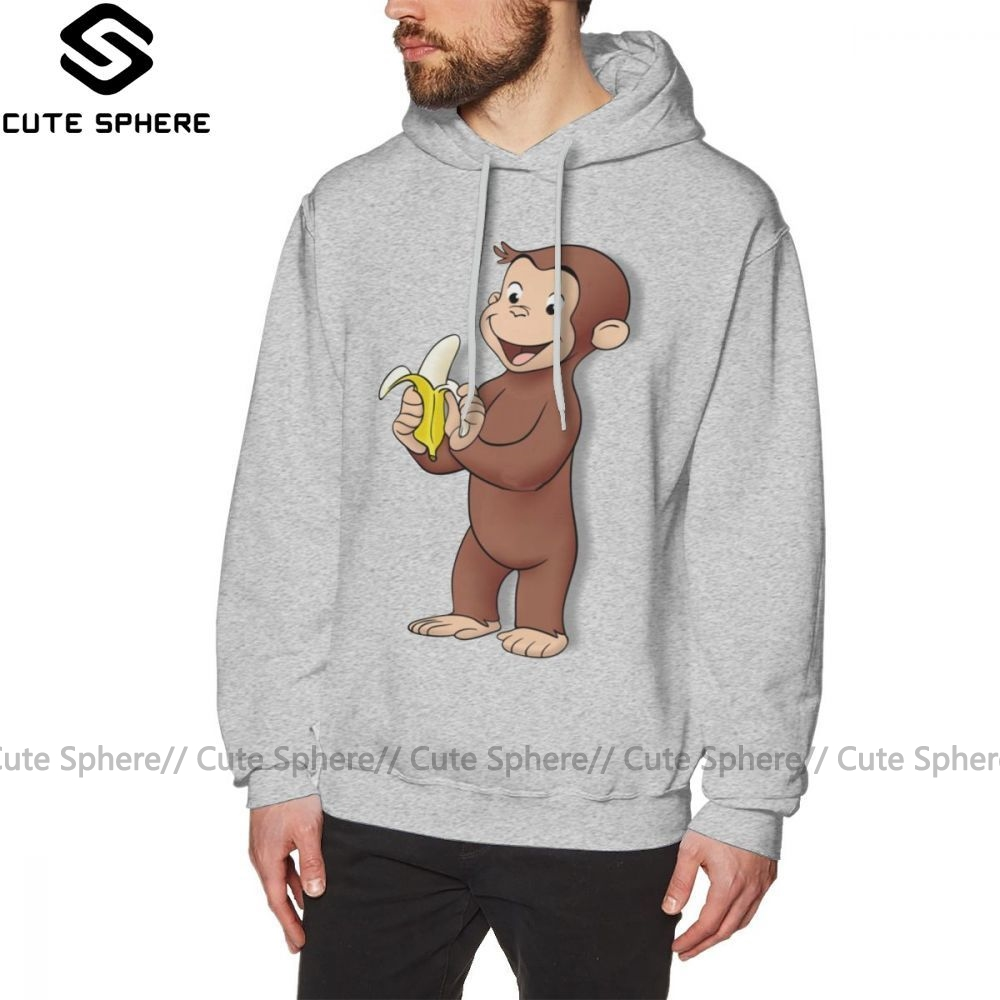 Curious George Hoodie Curious George Hoodies Stylish Over Size Pullover Hoodie Cotton Streetwear Male White Long Length Hoodies