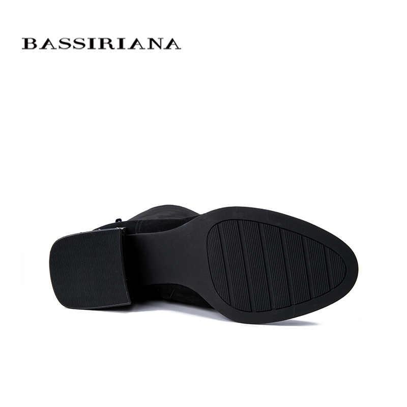 BASSIRIANA 2019 nuevos zapatos de Invierno para mujer botas de cuero de gamuza, suelas de goma antideslizantes zapatos de tacón bajo.