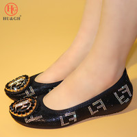 2019 Popular In Nigerian Waterproof PU Leather Flat Boat Shoes With Shiny Crystal Applique Large Size Women Foldable Ballet Flat