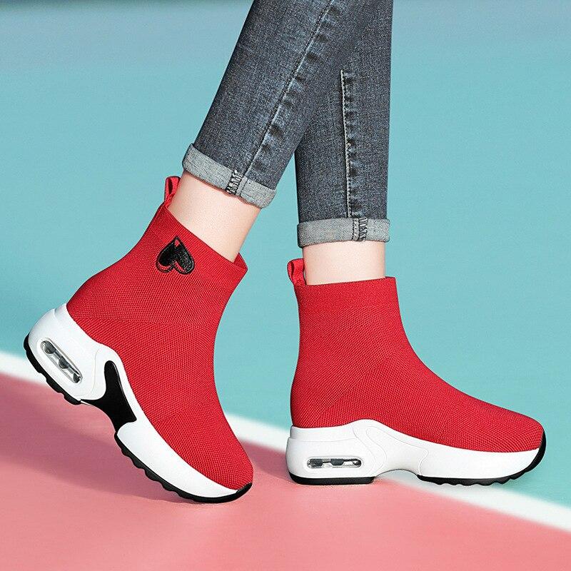 Round-Toe Flat Heel High Shoes Elastic Band Elevator Casual Shoes Waterproof Platform WOMEN'S Shoes Centennial 1851