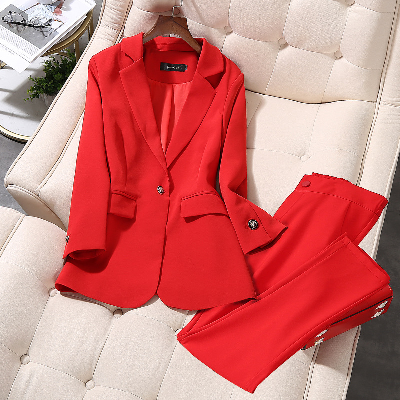 Women's Office Lady Two Pieces Sets Solid Red Elegant Single Breasted Turn-down Collar Blazers And Full Length Trousers 5XL
