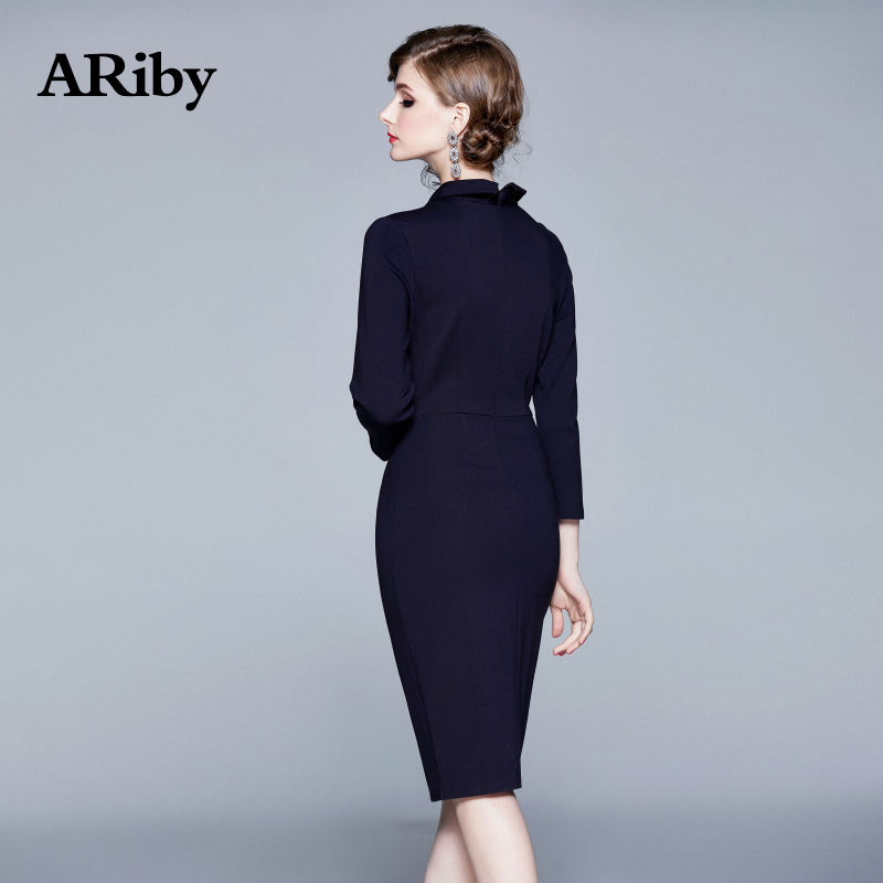 ARiby Women Solid Nail Bead Office Lady Dress 2019 Autumn New Fashion Temperament Full Sleeve Lapel Sheath Knee Length Dress in Dresses from Women 39 s Clothing