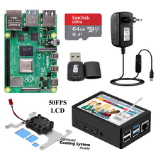 Raspberry Pi 4 with MHS 3.5 Inch Touchscreen LCD Display ABS Case Power Supply SD Card Fan Heat Sink for 2GB 4GB 8GB RPi 4B Pi4