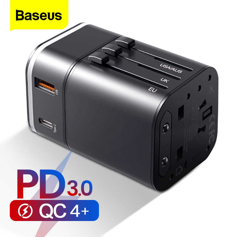 BASEUS Quick Charge 4.0 3.0 USB Charger Universal Travel ADAPTER USB C PD QC QC4.0 QC3.0 Fast CHARGING ปลั๊กซ็อกเก็ต