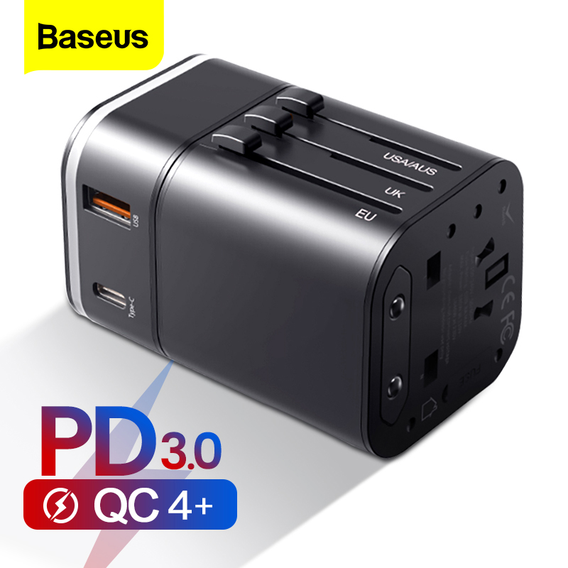 Baseus Quick Charge 4.0 3.0 USB Charger Universal Travel Adapter USB C PD QC QC4.0 QC3.0 Fast Charging International Plug Socket